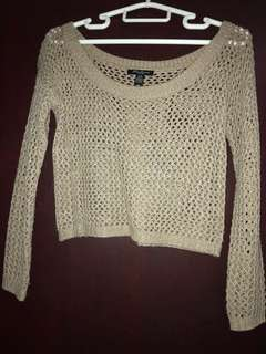 Off the shoulder knitted beige sweater