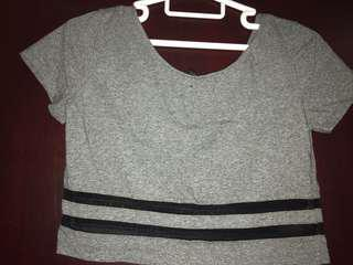 H&M mesh striped crop top