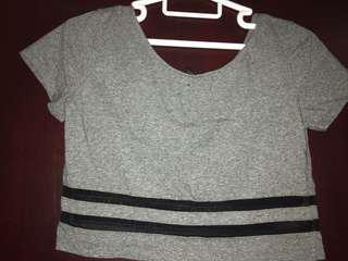 H&M mesh striped crop top