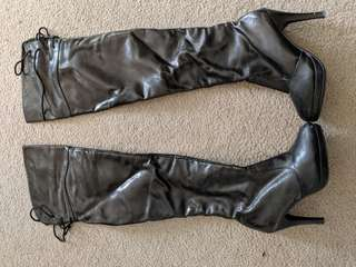Thigh high patent boot