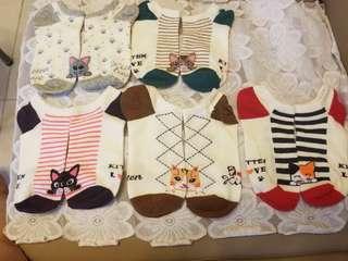 小貓船襪(1套5對)