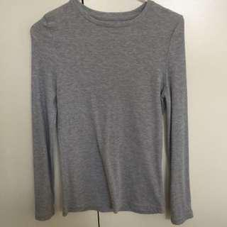 Grey ribbed long sleeve