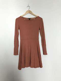 Forever 21 Ribbed Brown Long Sleeves Dress