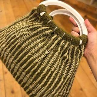 Vintage crotchet olive green and white handbag