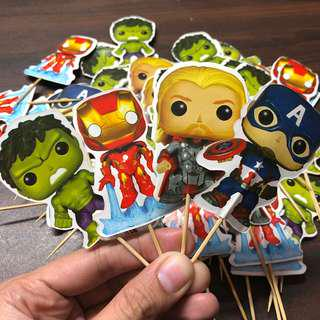 70 pcs Avengers Cupcake Toppers/Food Pick