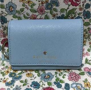 美國 kate spade 天藍色 短銀包 散紙包 wallet