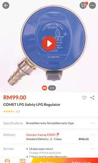 High pressure Cooking gas regulator with excess flow safety