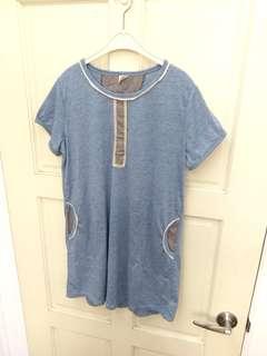 🚚 韓國製藍色長版短袖上衣