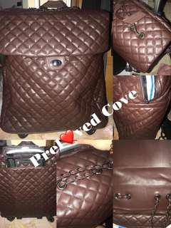 Quilted Styled Nylon Cocooned  Leather Lightweight Handcarry Luggage Trolley Bag (ready stock)