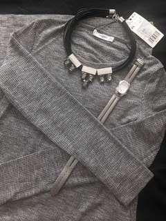 MNG Mango Long Gray Dress with side slits