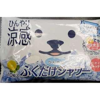 🇯🇵 現貨: 薄荷西柚味清爽抹身紙巾(SIZE: 30X32CM), 1包10張