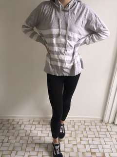 Grey and white striped hooded top