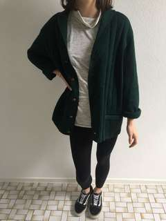 Vintage forest green cardigan