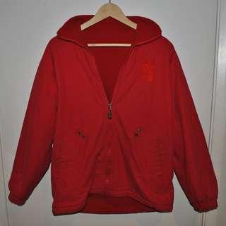 Oversized red vintage reversable windbreaker jacket with polar fleece lining