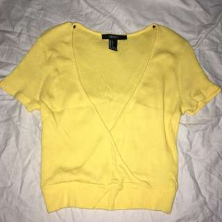 forever 21 low v neck yellow crop top