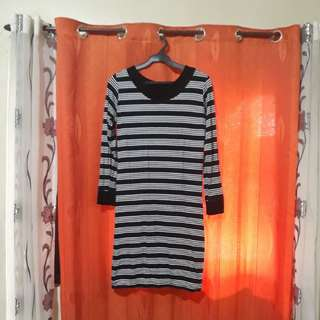 Striped Long Sleeves Dress L/XL