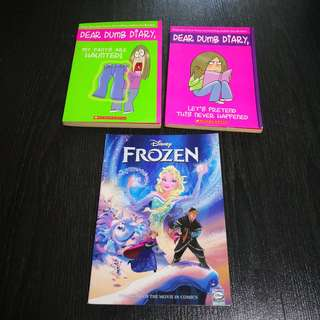 Set of 6 Children's Story Book including Dear Dumb Diary, Frozen Comic, Lizzie McGuire, Constable Acai