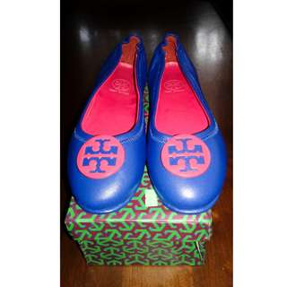 For Sale Tory Burch Minnie Travel Ballet Flat, Red/Blue