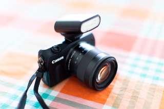 Canon EOS M + 18-55mm IS STM Lens + Speedlite 90EX External Flash