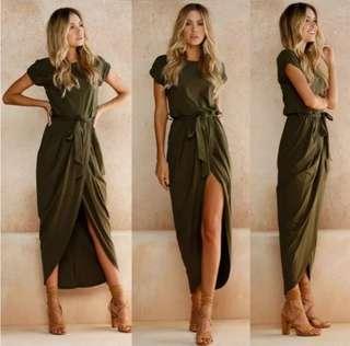 NEW! Short Sleeve Overlap Dress