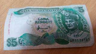 Duit RM5 lama no siri cantik