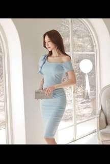 🚚 不規則斜肩一字領宴會禮服及膝裙中長裙包臀合身連身裙洋裝