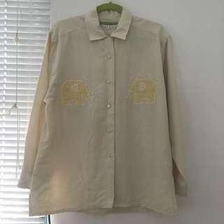 🚚 Vintage 鵝黃大象刺繡襯衫 a prank dolly 古著 香蕉貓