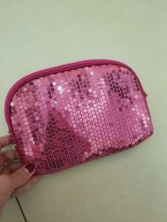 粉紅珠片化妝收納袋 pink bag