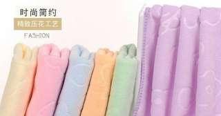 🚚 小熊印花毛巾藍粉紫3色(缺色隨機) 超細纖維毛巾35*75cm