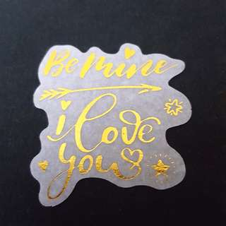 C7 Be Mine I Love You Calligraphy Sticker Stickers