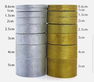 Metallic Gold/ Silver Ribbon🔴BUY 2 FREE 1 🔴   💱 $2.50 to $8.50 Each Roll - 22.5 Meter