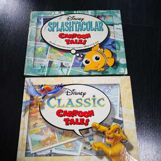 Set of 2 Disney Cartoon Tale Full Color Comic Story Books - include 6 Classic Disney Stories