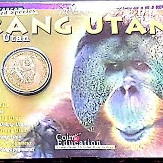 2003 MALAYSIA endangered animals no.2 Orang Utan nordic gold UNC