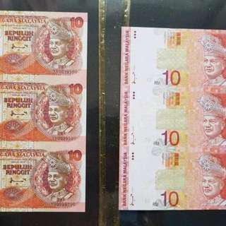 MALAYSIA rm10 uncut note 1 pair of 3 Pieces old and new version UNC YS & AA