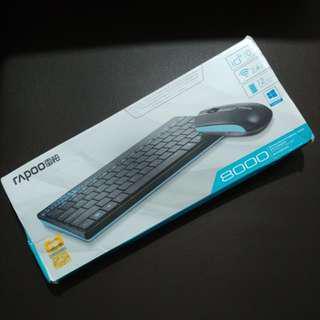 95%新 Rapoo 8000 2.4GHz USB Wireless Keyboard & Mouse Combo Set 無線鍵盤及滑鼠套裝
