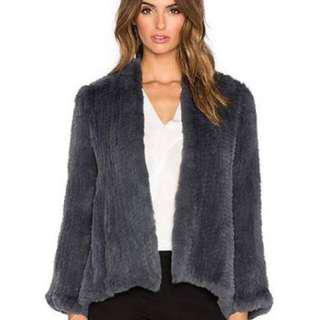 H Brand Rabbit Fur Emily Jacket Coat in Dark Grey Brand New RRP $750
