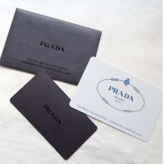 PRADA saffiano leather/tessuto cosmetic bag authenticity certificate warranty card 化妝袋保證卡
