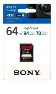 SONY SF-64UX2 64GB UHS-I SDXC U3 Class10 Memory Card - New