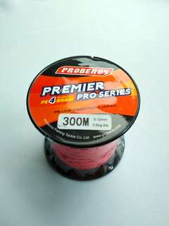 New - 8lb / 300m Premier PE4 Braided Line (RED)