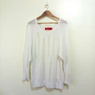 White Tattered Knitted Sweater