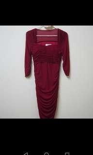 Inc pos maroon dinner dress