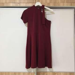 The Pixie Rack One Shoulder Maroon Mini Skater Dress