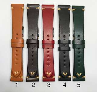 Sale : Premium Grade 20mm Watch Strap Made From Single Piece of Genuine Leather With Simple Stitching