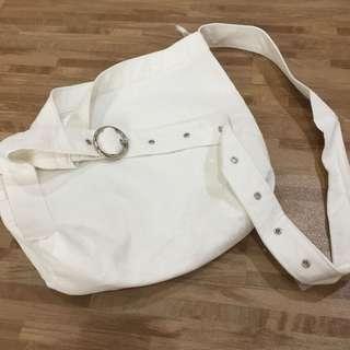 White Corduroy Sling Bag