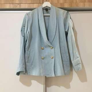 Retail Therapy Light Blue Denim Blazer