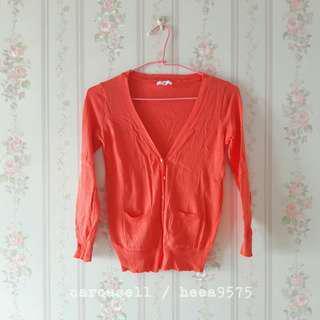 橘色針織防曬罩衫外套