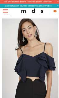 MDS Collections Aysmmetrical Front Ruffle Top In  Navy Blue