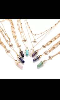 Multi layered Gold Crystal Necklace