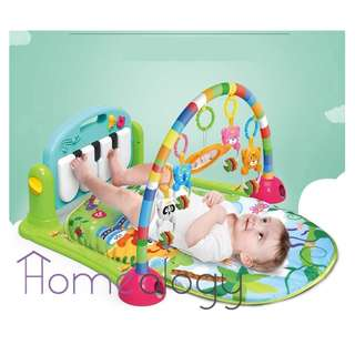 🚚 Two colors! Baby Infant Play Mat With Piano Gym Multifunction Fitness Rack