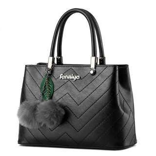 Zigzag Stitch Hand Leather Bag